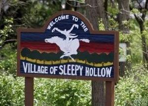 Headless Horseman on Village of Sleepy Hollow sign