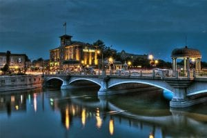 St. Charles Illinois bridge at night